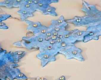 Diamante Snowflake Christmas Tree Decorations / Ornaments in Silver & Blue Felt, Set of 6
