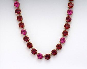 Fuchsia Rhinestone Necklace, Red Rhinestone Jewelry, Austrian Crystal Necklace, Pink Crystal Jewelry, Swarovski Crystal Necklace, Dania