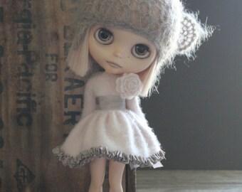 Pale Pink Long Cashmere Cardigan/Dress and Matching Socks