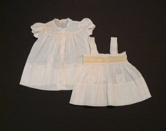 Lace de Francaise Sundress and Smock Dress Vintage 1950s 1960s Baby Girls Pinafore Could be used as Vintage Doll clothes Handmade Smocked