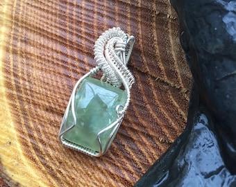 Prehnite Pendant - Wire Wrap Pendant  - Wire Wrap - Wire Wrapped Prehnite - Wire Wrap Jewelry - Handmade Pendant - Gemstone Pendant