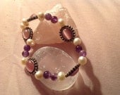 Pink cat's eye..pearl and amethyst bead stretch bracelet