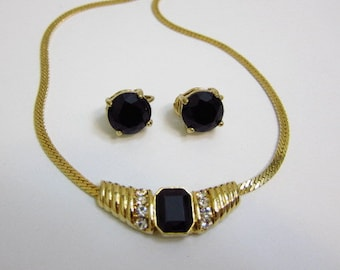 Vintage Onyx Glass Earrings Necklace Simulated Onyx