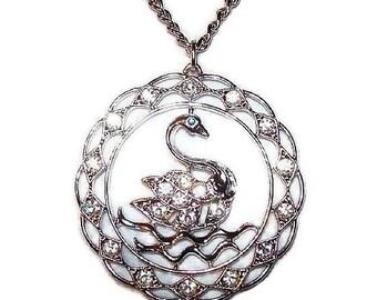 "Sarah Cov Swan Pendant Necklace Clear & Blue Rhinestones Silver Metal Chain 20"" Vintage"