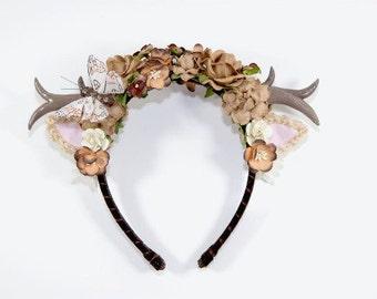 Brown Deer Anthler Headbands-Whimsical-Woodland-Gift For Her-Lolita-Brown-Antlers-Horns-Christmas Gift-Harajuku-Paper Flowers