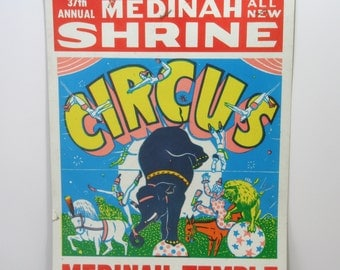 Vintage 1960s Shrine Circus Poster Advertising Bill at Historic Chicago Medinah Temple Shriners Building Wabash Litho Red Yellow Green Blue