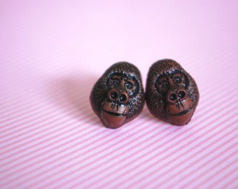 Gorilla Earrings -- Brown Gorilla Studs, Monkey Jewelry, Monkey