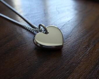 Chunky Silver Heart Pendant Necklace, Handmade