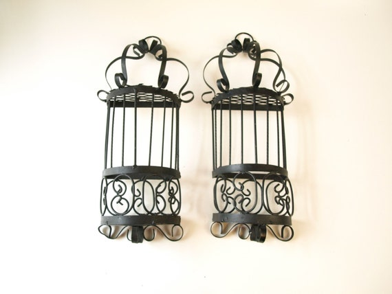 Wrought Iron Black Gothic Moroccan Wall Sconce Pocket Hangings