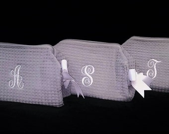 Set of 11 Small Waffle Weave SPA Cosmetic Bags Bridemaids