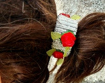Pony Tail Clip, Red Rose Hair Clip, Flower Hair Clip, Hand Beaded Hair Clip, Silver Hair Clip, Hair Jewelry, White Clip, Striped Hair Clip