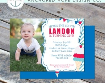 Ice Cream Party Birthday Invitation - Photo - Red White Blue- 5x7, 4x6 - 1st 2nd 3rd 4th 5th 6th 7th - Digital Printable File - Cardstock