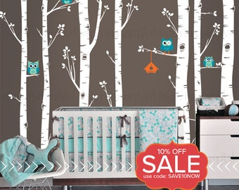 Birch Tree Wall Decal | Best Seller - Birch Trees, Four Owls and Birdhouse | For Baby Nursery or Children's Room | Easy Application 132