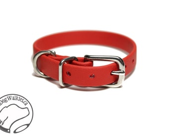 "Poppy Red Little Dog Collar - 1/2"" (12mm) Thin Beta Biothane Dog Collars - Waterproof Small Dog Collar"