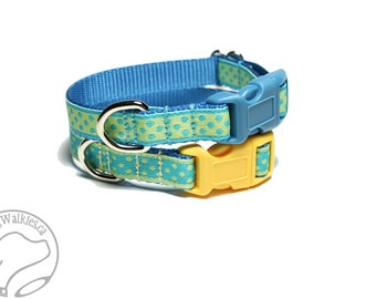 "Aqua Dots or Butter Dots Dog Collar - 1/2"" (13mm) wide - Thin Dog Collar - your choice of size, color and style - small dot"