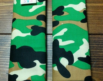 Reversible TODDLER Car Seat Strap Covers Black Green Camouflage with Kelly Green Dimple Dot Minky Cuddle Baby Infant Accessories ITEM #204