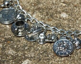 TEA TIME Delicate Clocks and Tea Themed Charm Bracelet