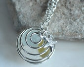 atlantic sea glass marble necklace, sterling silver seaglass necklace, sterling silver seaglass marble necklace, seaglass marble
