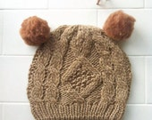 Pom Pom Beanie - Little Bear - Gingerbread double pom. Cable Knit design.