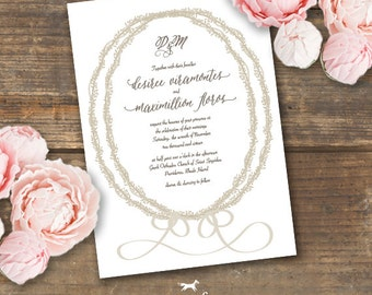 Wreath Wedding Invitation Printable - Stefana Crowns