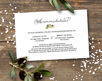 Olive Branch Wedding Accommodation Information Card Printable