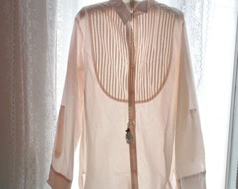 SALE Vintage 80s Boho Bohemian Victorian Marie Antoinette Minimalist Pleated Motif Baby Pink Long Sleeves Shirt Dress