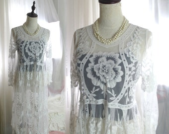 1920s Style Boho Bohemian Gypsy Downton Abbey Flapper Dress French Lace Long Sleeves Sheer Top Blouse White Romantic Angel