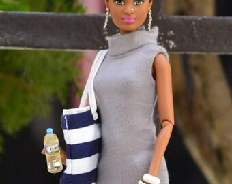Gray Mock-Turtleneck Bodycon Dress for 11.5-inch to 12-inch Fashion Dolls