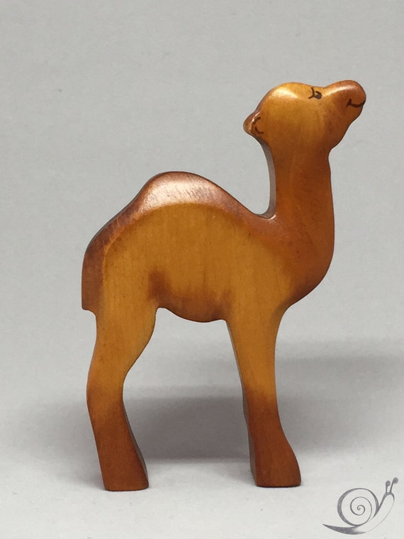 Toy one humped camel dromedary Baby wooden brown colourful Size:9,5x 6,5 x 2,0 cm (bxhxs)  approx. 34 gr.