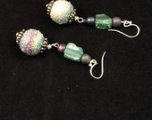 Hand beaded drop earrings, dangle earrings, hand beaded lampwork earrings, sugared lampwork bead earrings, multicolored earrings