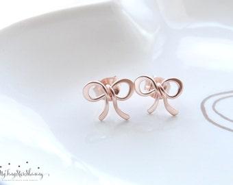 Rose Gold earrings Stud earrings  bow earrings Rose Gold stud earrings petite earrings Rose gold studs, everyday earrings Bow Jewelry