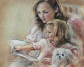 Art Mother and daughter 'Bedtime Story' reading, Laurie Shanholtzer artist Canvas or art paper print, family wall decor