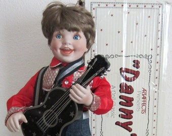 Boy Doll Danny by Sandra Bilotto Vintage Porcelain Cowboy Doll Country Western Collectible