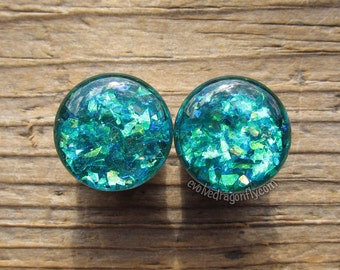 7/8, 22mm Sale! - READY TO SHIP - Viridian Green Shard Plugs | 10% Off