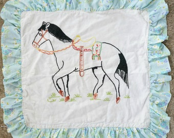 Horse Pillow Embroidered Horse PIllow Sham Vintage 50's Pillow Case Stallion Pillow Cover Vintage Horse Home Decor