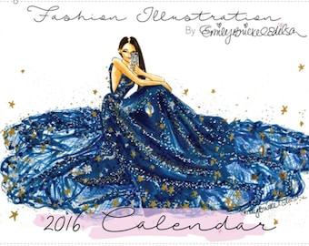 Fashion Illustration 2016 Wall Calendar - Fashion Illustration, Beauty, Lifestyle, Chic by Emily Brickel