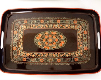 Lacquered Wood Serving Tray Vintage Brown Orange Floral