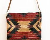 OOAK geometric design crossbody bag, BOHO bag, kilim design, aztec navajo textile, adjustable strap leather  bag.  Ready to ship