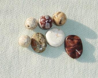 Brown Gemstone Beads -7 pcs - Jewelry Making Supplies