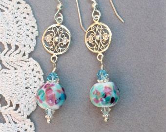 Lampwork Bead Earrings, Lampwork Bead Jewelry, Handmade Multi Colored Beads, Sterling Silver