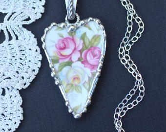 Necklace, Broken China Jewelry, Broken China Necklace, Heart Pendant, Pink and White Roses China, Sterling Silver Chain