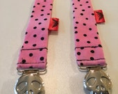 Pink with Black Dots Binky Leash - Pacifier Clip - Pacifier Leash - Pacifier Clip - Baby Bink Link - Baby or Infant Pacifier Leash