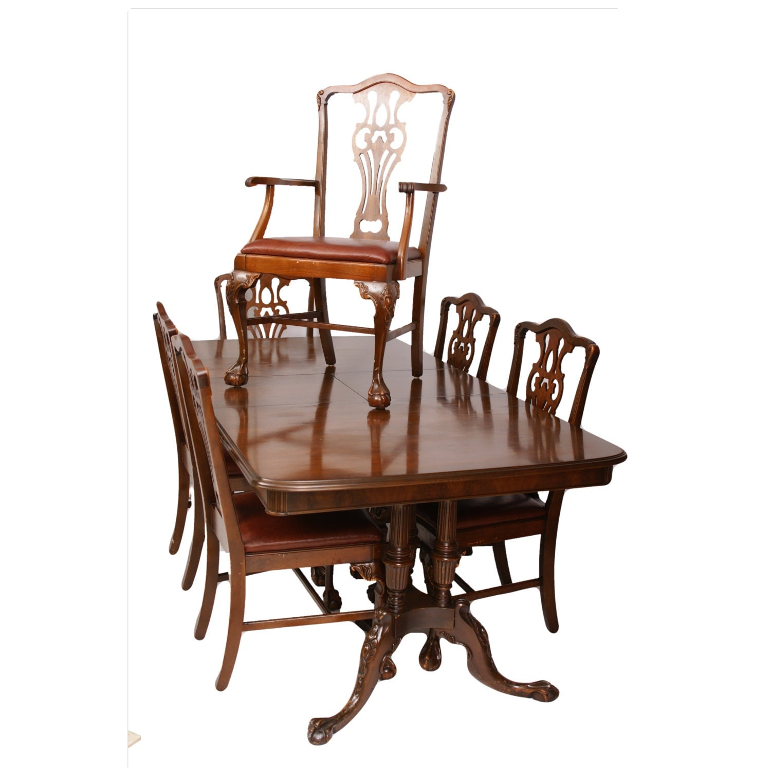 set of 10 italian chippendale style painted wood chairs at 1