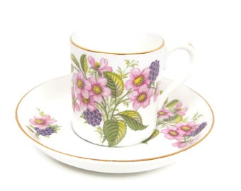 Vintage Crownford Spring Floral Teacup Saucer Fine Bone China Made in England Demitasse Set