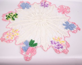 Vintage Crochet Flower Doily Colorful Doily Crochet Lace Runner Pastel Doily Hand Crocheted Table Linen