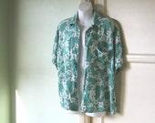 Dark Spearmint Green Tiki Shirt - Men's XS/Women's Medium Green Short Sleeve Hawaiian Shirt~Retro Hawaiian/Lounge/Beach Top; Free Ship/U.S.
