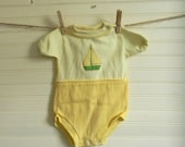 Baby Bodysuit Outfit - Yellow One Piece Outfit, Sailboat Applique Bodysuit, Yellow Bodysuit Outfit, 0-6 Months Size Bodysuit Outfit, SALE