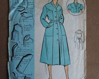 """Vintage French Original Sewing Pattern 1950's Patron Modèle Ladies Shirtwaist Dress Mannequin Size 48 - Bust 41"""" #101106"""