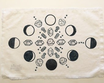 Large Moon Phases or Lunar Cycle Cloth for Altar or Crystal Grid in White and Blue