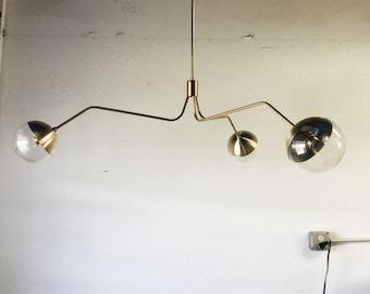Bubble glass shades brass chandelier - modern mid century hanging light. Art deco inspired - URSULA